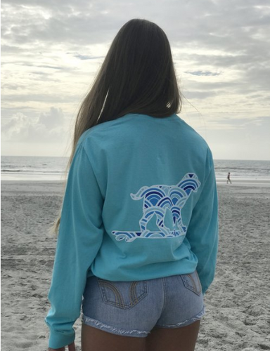 Buddy by the Sea - Lagoon Blue Wave Long Sleeve Tee