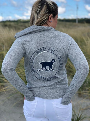 Buddy by the Sea - Grey Cozy Pullover with Navy Buddy Stamp