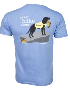 Dog Is Good - Never Hike Alone Unisex Blue Short Sleeve Tee Shirt