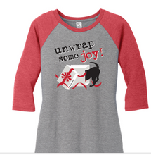 Load image into Gallery viewer, Dog is Good - Christmas Unwrap Some Joy Raglan Women's Tee Shirt