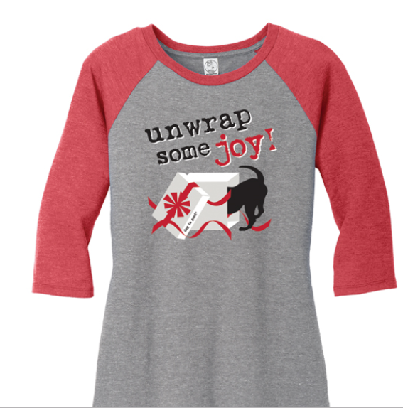 Dog is Good - Christmas Unwrap Some Joy Raglan Women's Tee Shirt
