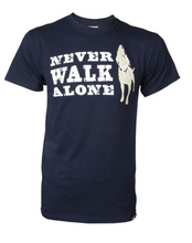 Load image into Gallery viewer, Dog is Good - Never Walk Alone Unisex Short Sleeve Tee Navy