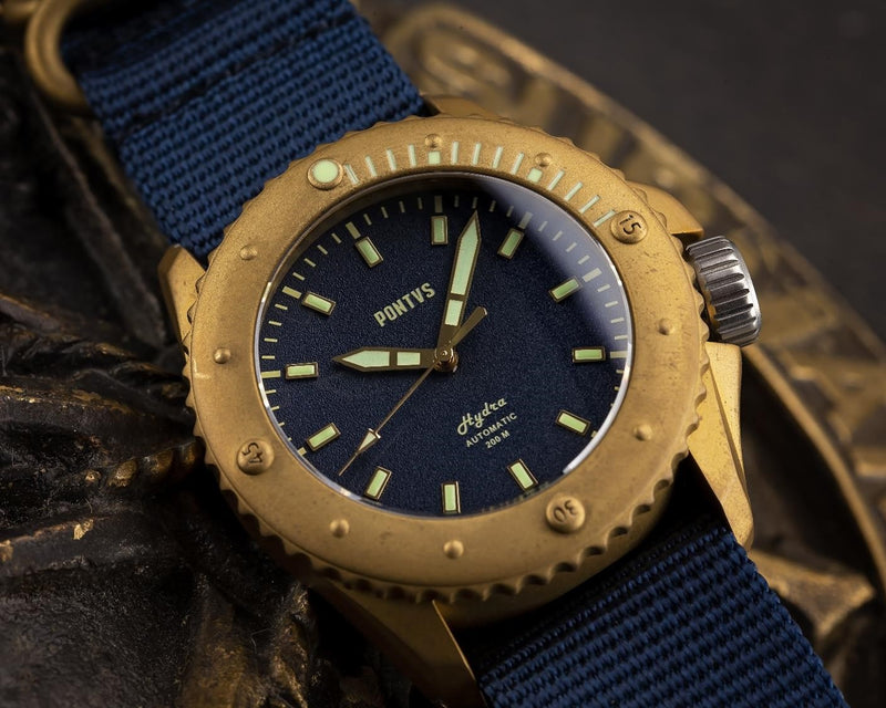 Pontvs Hydra Blue | 43mm Brass Dive Watch for Men - PONTVS Watch Co.