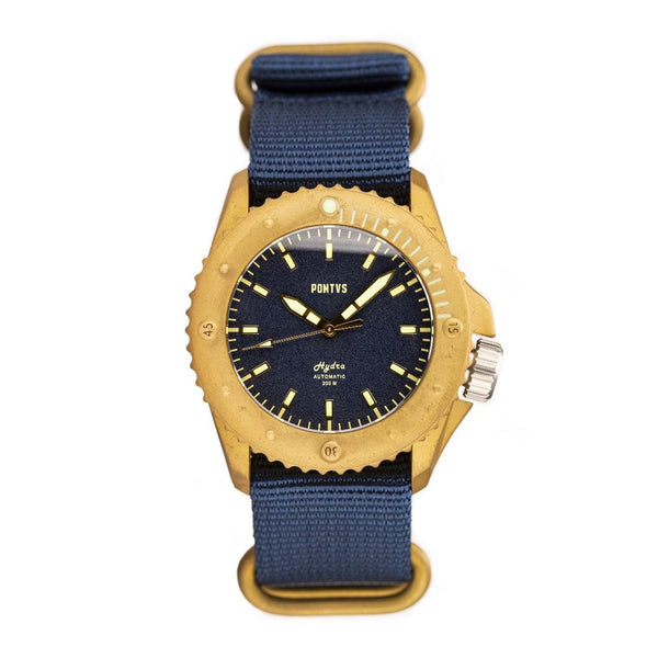 Pontvs Hydra Blue | 43mm Brass Dive Watch for Men