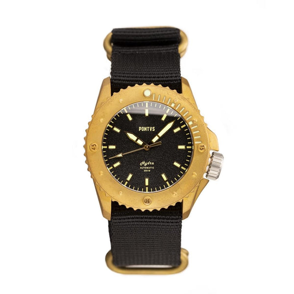Pontvs Hydra Black | Brass Dive Watch | Affordable watch under 500 USD