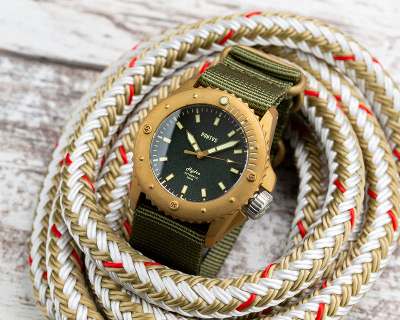 Pontvs Hydra Green | Brass Dive watch outdoor photo