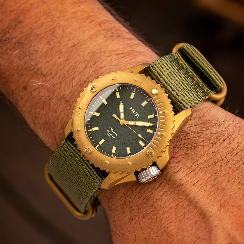 Pontvs Hydra Green | 43mm Brass Dive Watch for Men