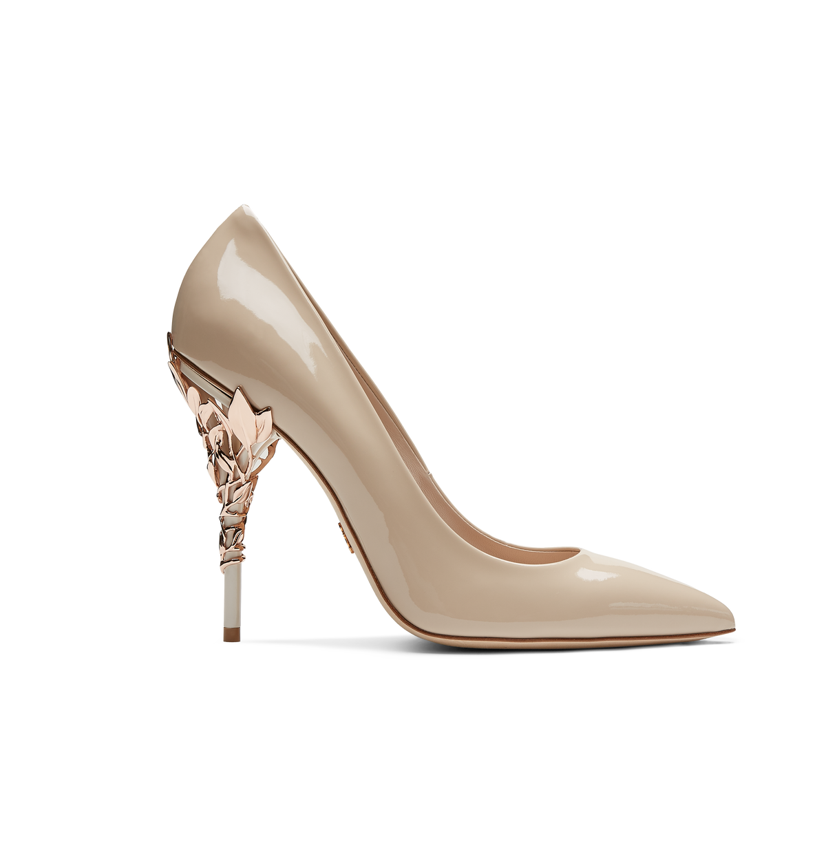 Nude Patent Calf with Rose Gold Leaves