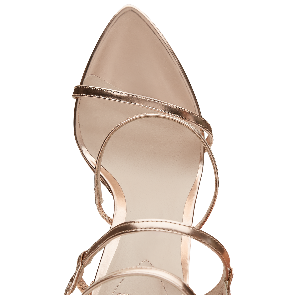 Mirrored Rose Gold Leather Eden Sandals with Rose Gold Leaves