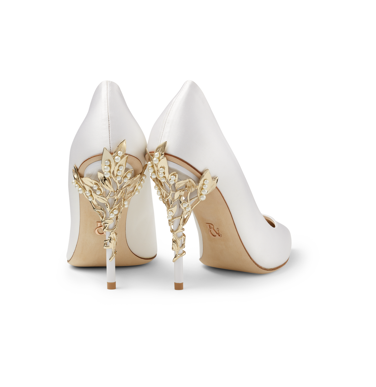 White Satin Eden Heels with Pearls and Gold Leaves