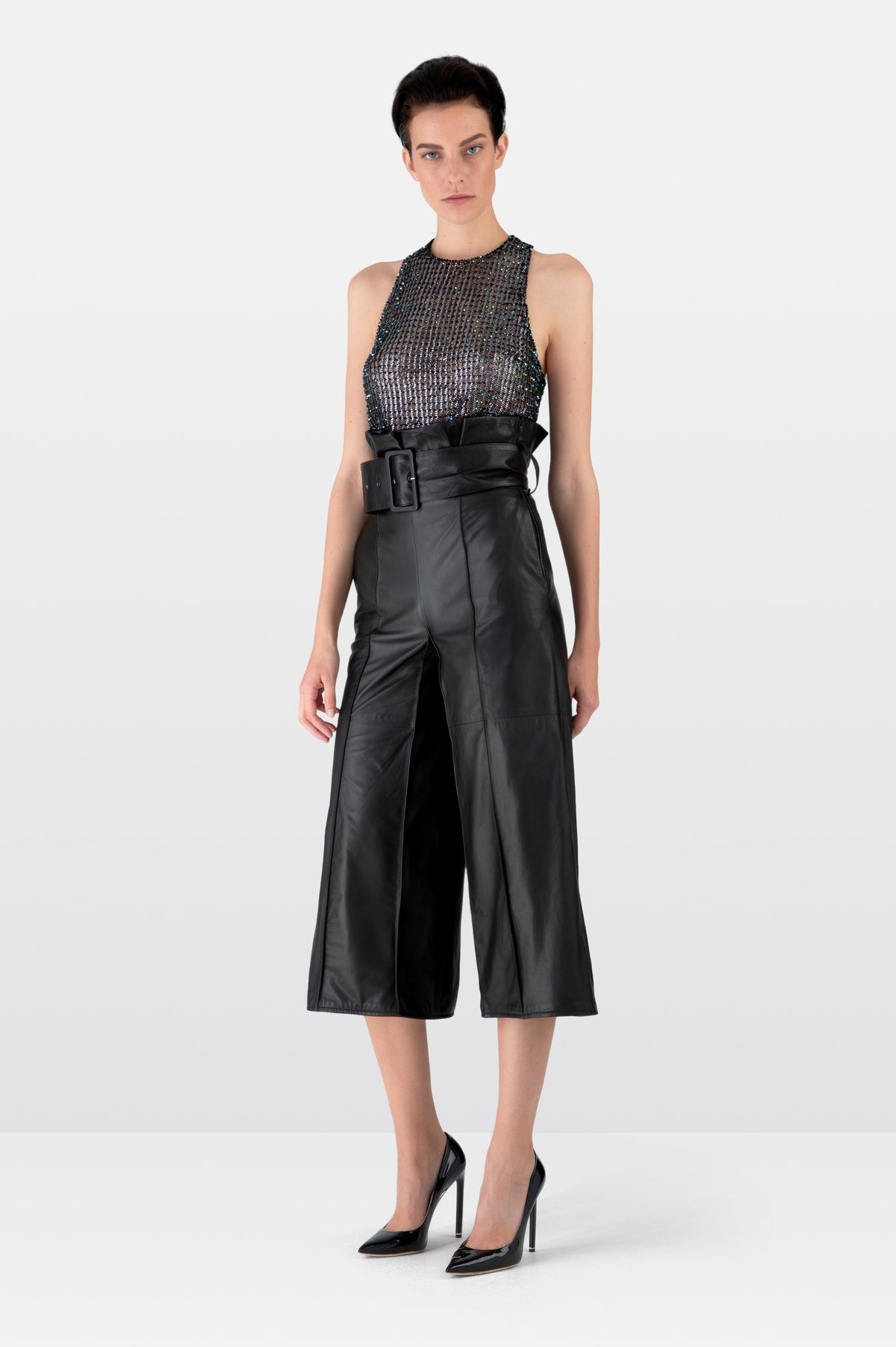 Black Leather Tailored Culottes