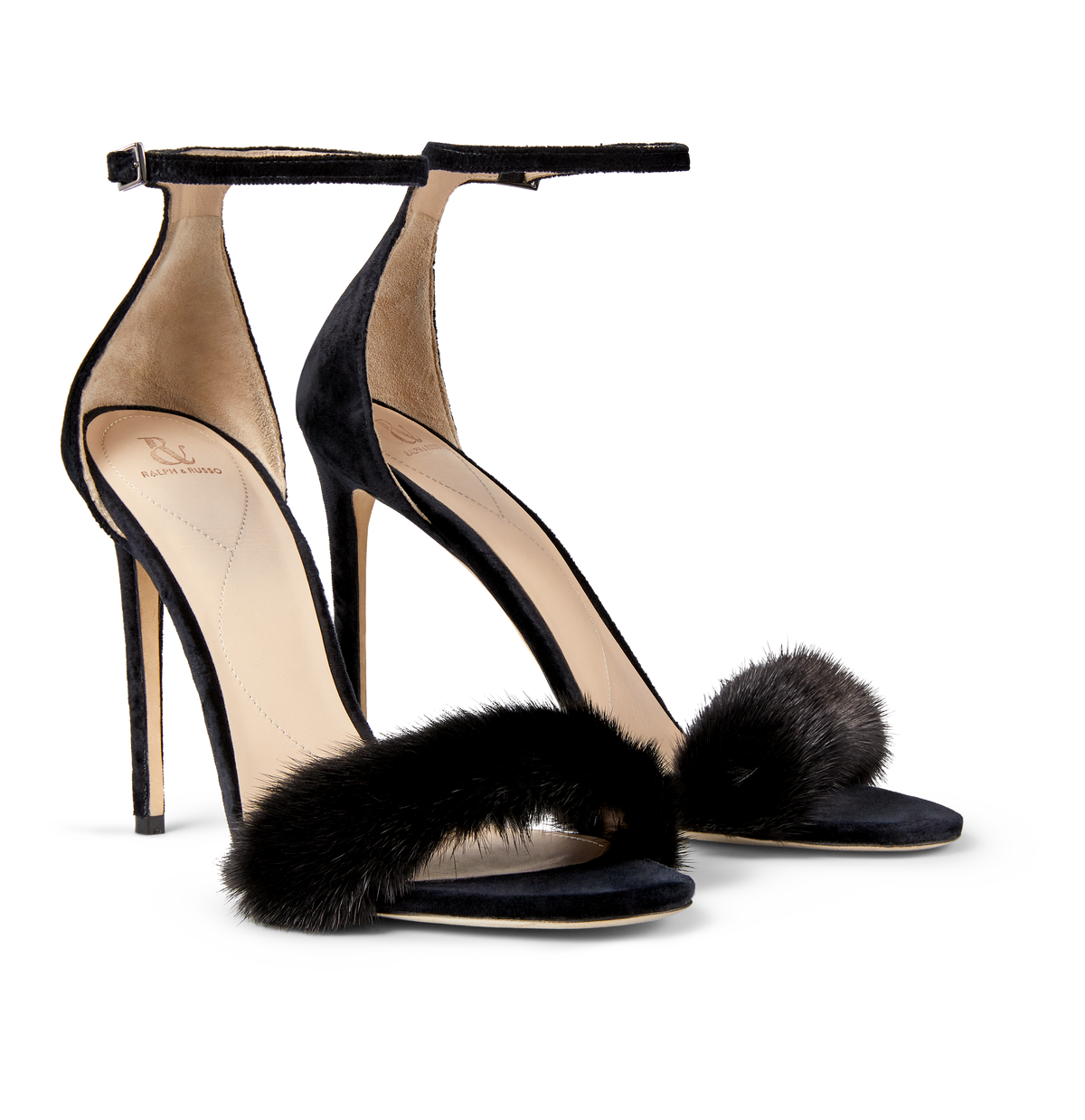 Black Mink and Suede Sandals