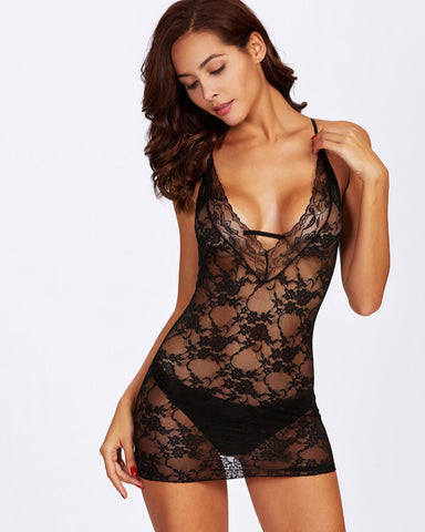 Black Criss Cross Lace set