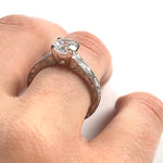 Engraved Solitaire Engagement Ring Setting
