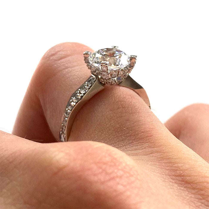 Wavy Diamond Engagement Ring Setting