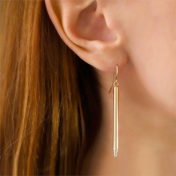 Arrow Point Pave Diamond Earrings