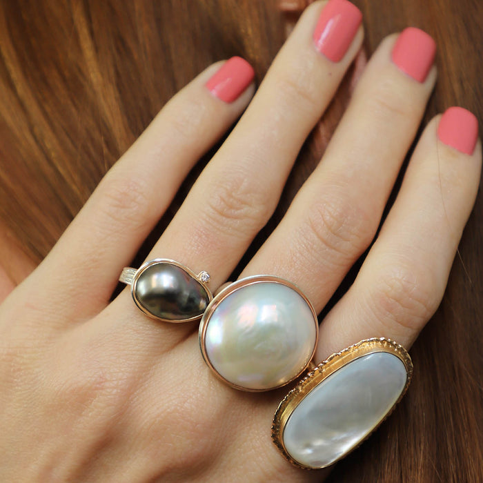 Pink Cultured Pearl Ring