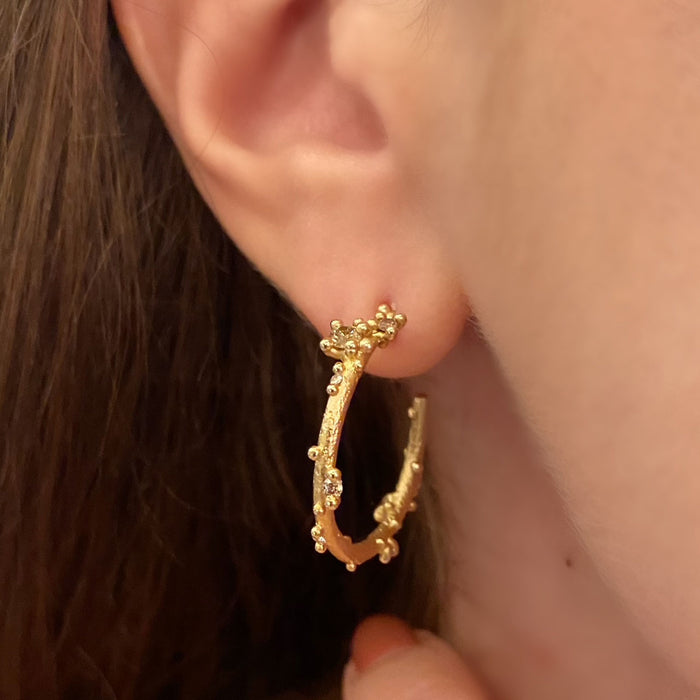 Champagne Diamond Encrusted Hoops
