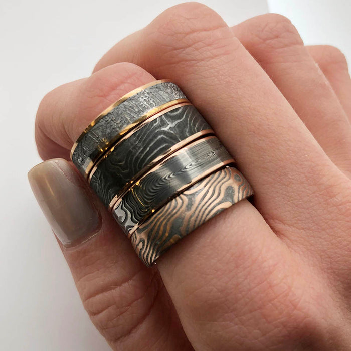 Chris Ploof Mokume Gane Red Gold and Meteorite Ring