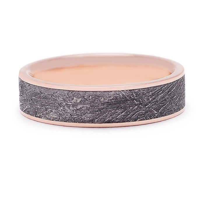 Chris Ploof 6 MM Meteorite Band with Rose Gold