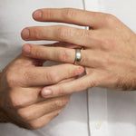 Wide Brushed Wedding Band