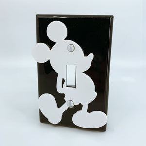 Mickey Mouse | Walt Disney | White on Black | Light Switch Cover