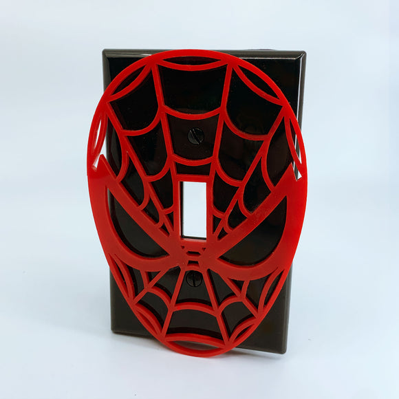 Spiderman Face | Red on Black | Light Switch Cover