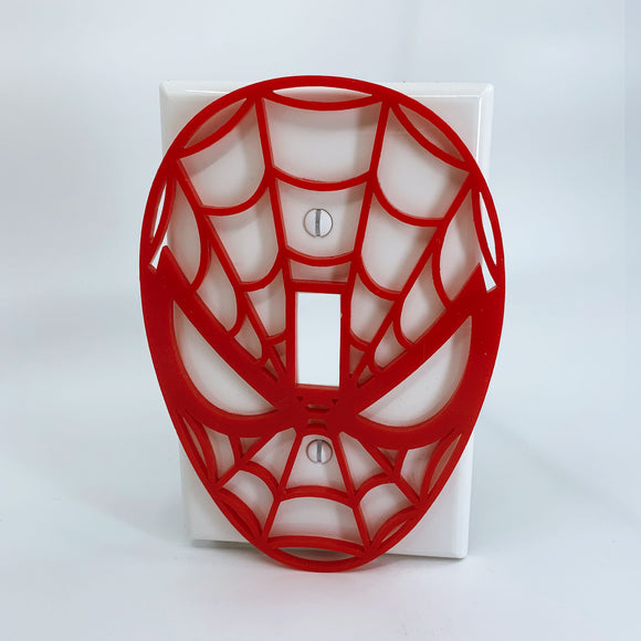 Spiderman Face | Red on White | Light Switch Cover