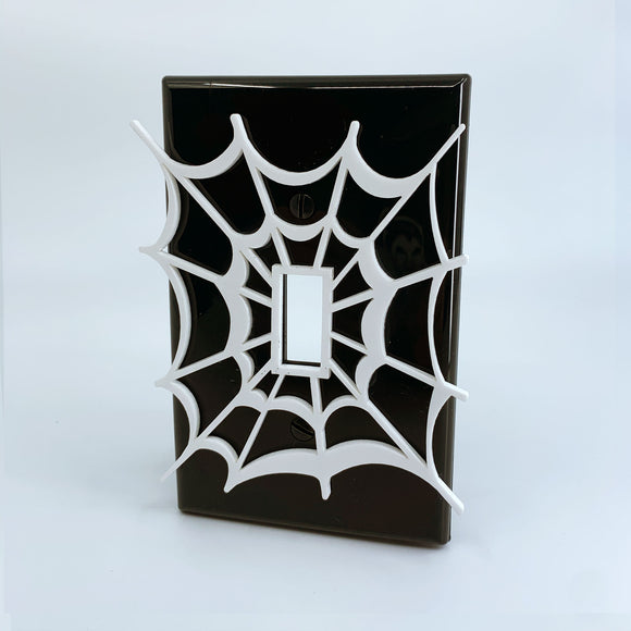 Spiderman Web | White on Black | Light Switch Cover