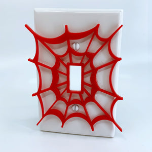 Spiderman Web | Red on White | Light Switch Cover