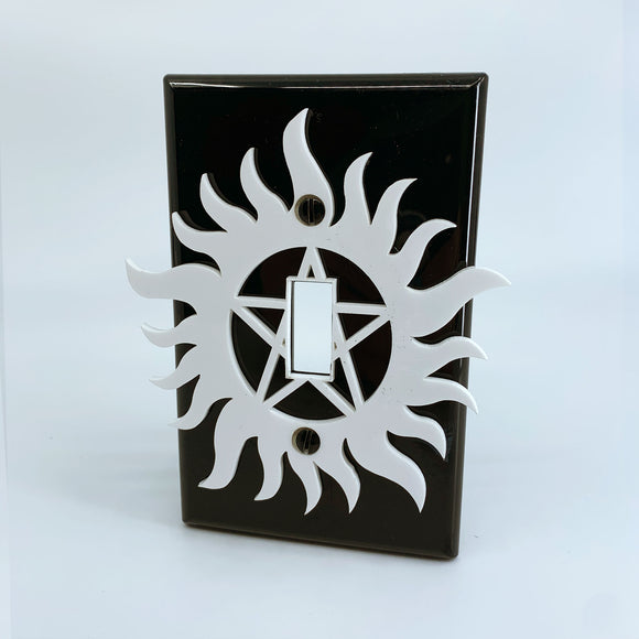 Supernatural | White on Black | Light Switch Cover