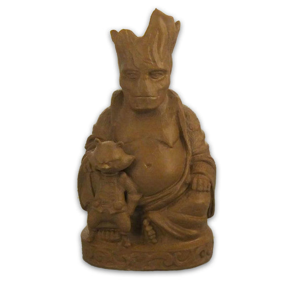 Groot & Rocket Raccoon Buddha | Guardians Of The Galaxy | Marvel | Chestnut Brown