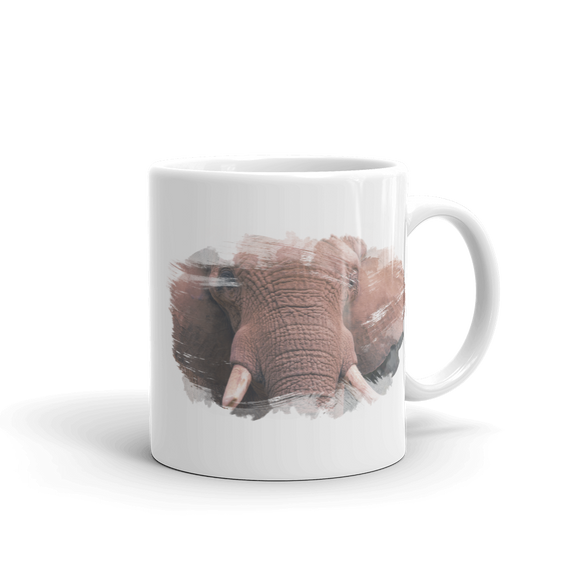 White Glossy Coffee Mug Elephant Design - SmartBuys
