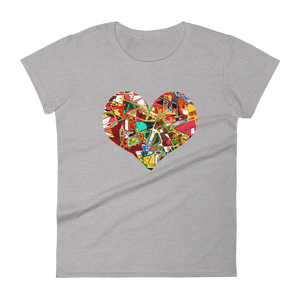 Women's Fashion Fit Short Sleeve T-Shirt Abstract Heart Design - SmartBuys