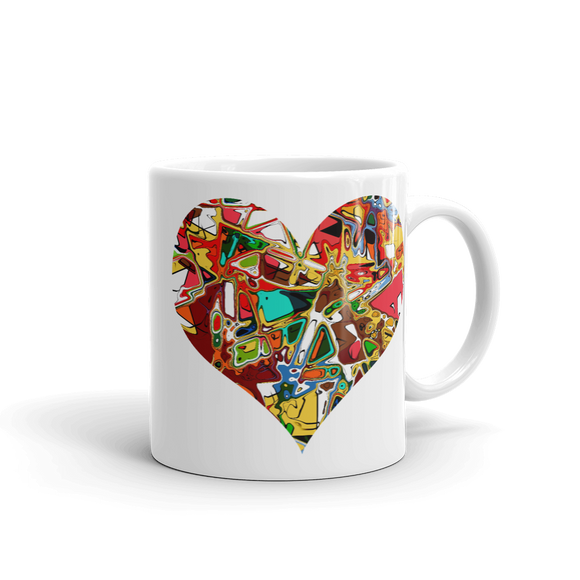 White Glossy Coffee Mug Abstract Heart Design - SmartBuys