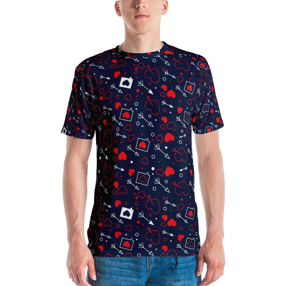Loving Hearts All Over Print Crew Cut Short-Sleeve Men's T-shirt