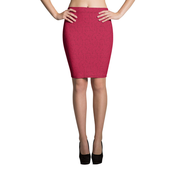 American Bogan Red With Texture Print Pencil Skirt