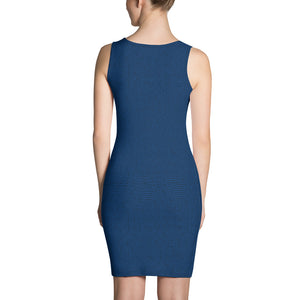 American Bogan Blue With Texture Print Form Fitting Dress
