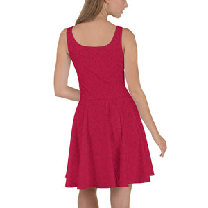 American Bogan Red With Texture Print Skater Dress