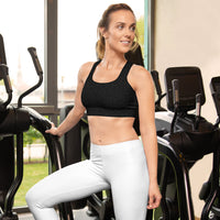 American Bogan Black With Texture Print Sports Bra With Thin Removable Inserts
