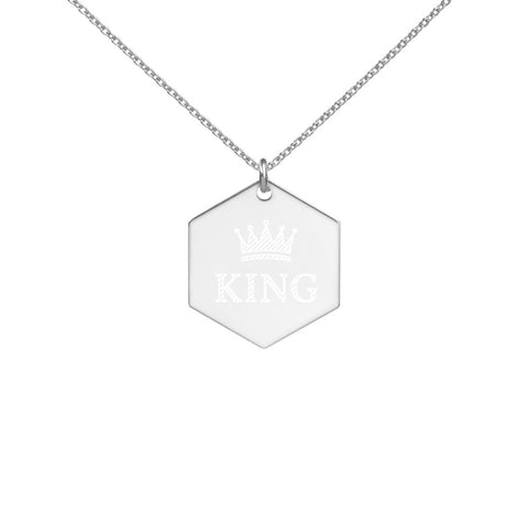 KING - Engraved Silver Hexagon Necklace