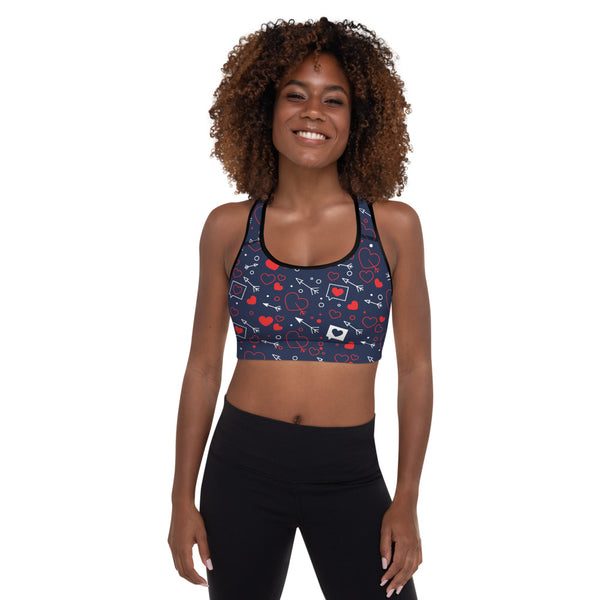 Loving Hearts Sports Bra With Thin Removable Inserts