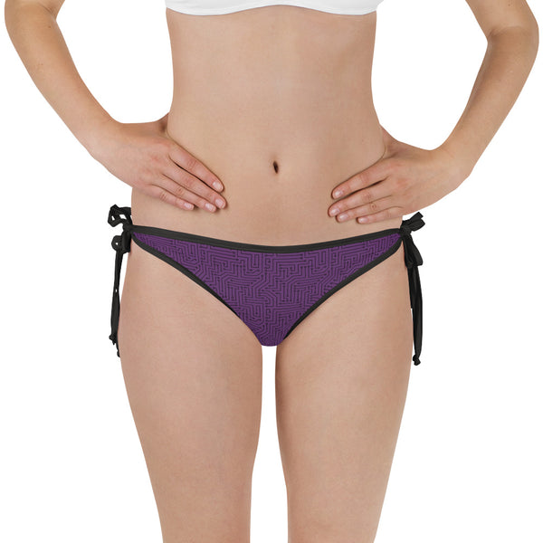 Imperial Purple With Texture Print Bikini Bottom with Adjustable Straps