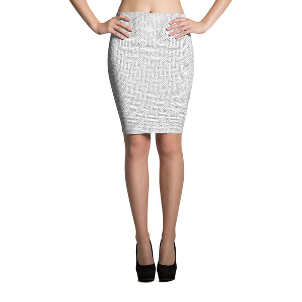 American Bogan White With Texture Print Pencil Skirt