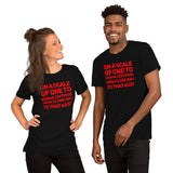 "smiling couple (white woman with long hair and black man with goatee and short cropped hair) wearing black tshirts with red letters ""on a scale of one to human centipede how close am i to that ass?"" copyright americanbogan.com"