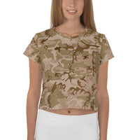 Desert Camouflage Pattern All-Over Print Crop Top T-shirt