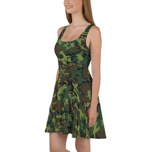 Woodland Camouflage Style Pattern Skater Dress