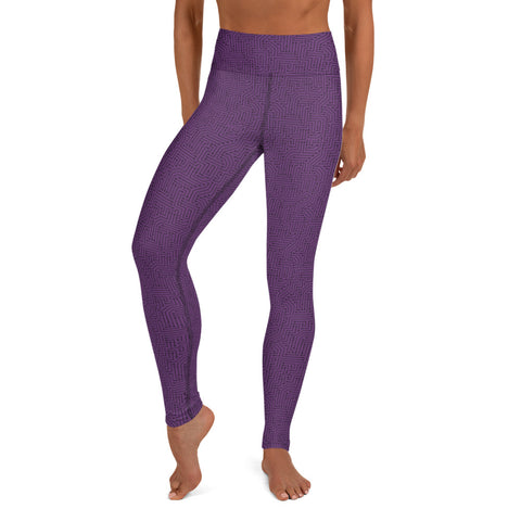 Imperial Purple With Texture Print Yoga Leggings
