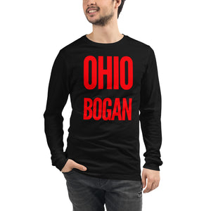 "asian featured male bodied model with short hair wearing black crop top tshirt with red letters ""ohio bogan"" copyright americanbogan.com"