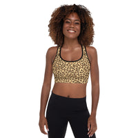 Leopard Print Camouflage Pattern Sports Bra With Thin Removable Inserts